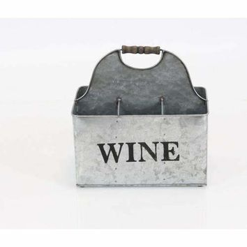 Vintage Style Rustic Metal Crate Wine Bottle Holder