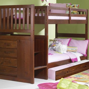 Audrey Merlot Bunk Bed with Stairs