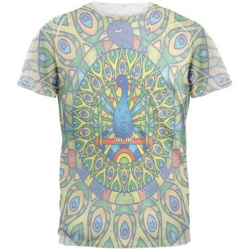 LMFCY8 Mandala Trippy Stained Glass Peacock Mens T Shirt
