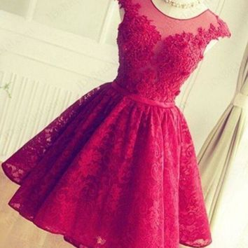 ICIKFC8 FASHION RED HANDMADE LACE SHINING RHINESTONE PROM PARTY DRESS