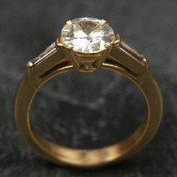 1.06ct Diamond 18ct Yellow Gold Solitaire Engagement Ring w/ Diamond Shoulders by Ruby Gray's | Ruby Gray's Antique & Vintage Rings