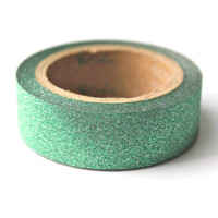 Green Glitter Washi Tape - Metallic Tape Sparkle Tape - 5 meters per roll - glitter texture washi tape paper tape