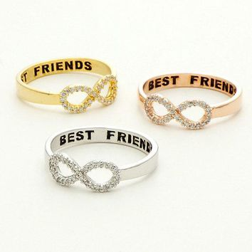 Engraved BEST FRIENDS Crystal Infinity Ring