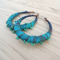 Silk Road Gypsy Hoop Earrings, Large, Eclectic, Copper, Blue and Turquoise, Silk Wrapped