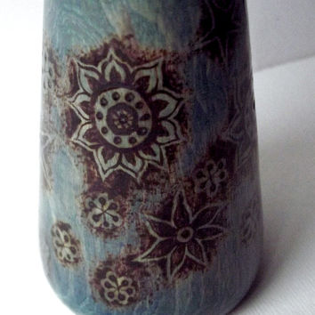 Wood Vase - Bud Vase with Pyrography. Blue Wood Bud Vase, Floral wood Vase, Turned Wooden Vase, pyrography wood Vase, woodburning vase, UK