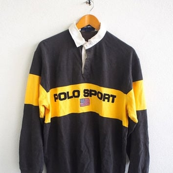 BIG SALE 25% Vintage Vtg POLO Sport By Ralph Lauren Big Logo Streetwear 90's Polo Rugby Shirt Hip Hop Size L