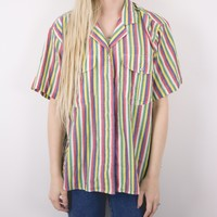 Vintage Colorful Striped Button Up Blouse