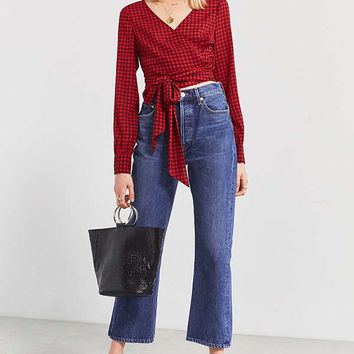 UO Cropped Gingham Wrap Blouse | Urban Outfitters