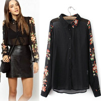 Black Sleeve Floral Print Collar Chiffon Blouse