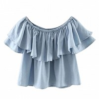 Blue Off Shoulder Ruffle Hem Blouse - Choies.com