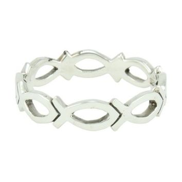 Christian Women's Abstinence 0.925 Sterling Silver 5mm Cutout Jesus Ichthus Fish Purity Ring - Chastity Ring for Girls