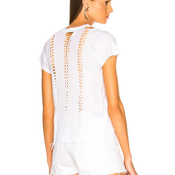 ICONS Braid Back Short Sleeve Tee in White | FWRD