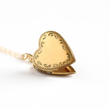 Vintage 12k Gold Filled Flower Heart Shaped Locket Necklace- Mid Century 1940s 1950s Floral Love Romantic Pendant Jewelry
