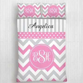 Custom Chevron Monogrammed Duvet Cover Pillow Cover -Personalized Monogram-Twin, Full,Queen, King