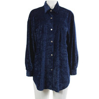 """Crushed Velvet Top XXL 90s Vintage Navy Blue Blouse Button Down Collared Oversized Shirt 90s Grunge Clothing Women's Size XXL 52"""" Bust"""