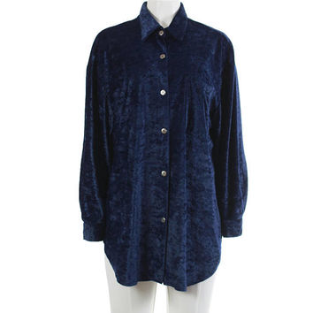 "Crushed Velvet Top XXL 90s Vintage Navy Blue Blouse Button Down Collared Oversized Shirt 90s Grunge Clothing Women's Size XXL 52"" Bust"