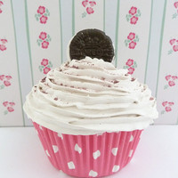 Oreo Cookie Fake Cupcake for sweet 16 party decoration , quinceanera , bridal shower favor centerpieces ,baby shower favor  white icing