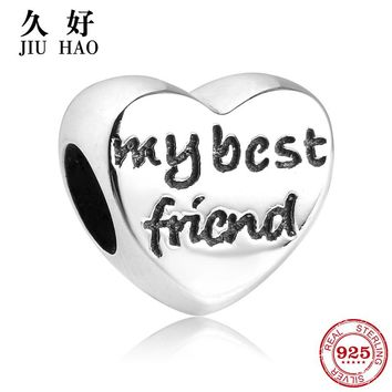 Fashion 925 Sterling Silver My best Friends Beads Charms fit Original Pandora Charm Bracelet Jewelry Accessories Friendship Gift