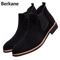 Chelsea Boots Pointed Toe Men Suede  Kanye Black Brand Solid Spring West Fashion Ankle Casual Shoes Quality Free Shipping Hot