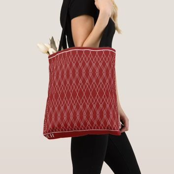 Red Heirloom Etching Minor Monogram Tote Bag