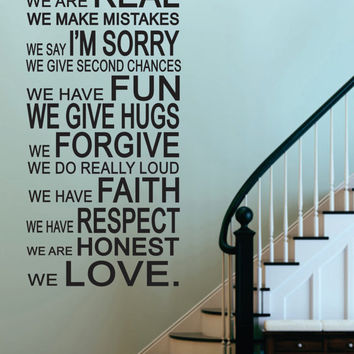 "Vinyl Wall Sticker Decal -In This House-House Rules  - Livingroom - Kitchen-Entry-Rec Room- Photo Wall -Picture Wall 48""H x 23""W"