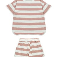 Striped Two Pieces Suit with T-shirt and Shorts