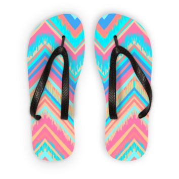 Blue and Pink Chevron Flip Flops