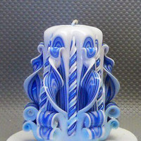 Birthday Gift. Unique Candles. Candle. Carved Candle. Large candle. Blue Candle.  Housewarming Gift Ideas By Three Snails. Free Shipping!