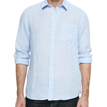 Long-Sleeve Gingham Shirt, Light Blue, Size: