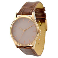 Rose Gold Watch Creamy Brown Band  - Free shipping