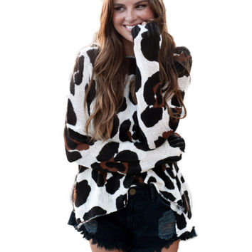 Show Me Your Mumu Bonfire Pullover Sweater in Big Cheetah