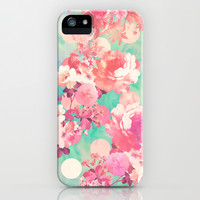 Romantic Pink Retro Floral Pattern Teal Polka Dots iPhone & iPod Case by Girly Trend