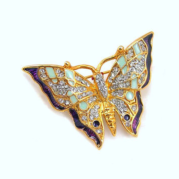 Rhinestone Butterfly Figural Brooch - Insect Pin - Goldtone Metal with Green and Purple Enamel - Vintage 1990 Jewelry - Gift for Her
