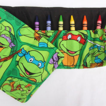 Crayon Roll Turtles, TMNT, Crayon Holder Teenage Mutant Ninja Turtles, Birthday Party Favor 16 Crayola Crayons Included,
