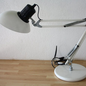 "Rare. Industrial white architect lamp SACHA KETOFF for Aluminor ""LUX602"". Desk lamp. Swing arm. French vintage."
