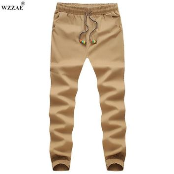 WZZAE Plus Size M-5XL Men Chino Pants Casual Fashion Black Khaki Joggers Cotton Sweatpants Men Elastic Harem Pants Sarouel Homme