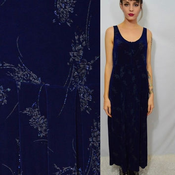 Vintage 90s Sheer Dress Floral Gypsy Hippie Soft Grunge Fairy Glitter Navy Blue Small Medium Sheer Tank Sleeveless Long Maxi Witch 1990s