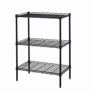 New Wire Shelving Cart Unit 3 Shelves Shelf Rack Black 773 Layer Tier