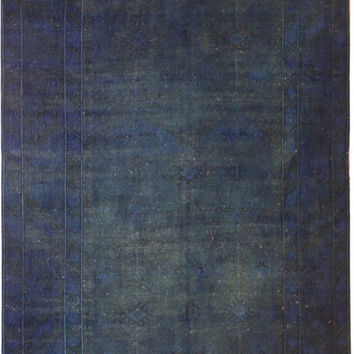 Navy Blue Rugs Vintage Over Dyed Rugs 9x6 Living Room Rugs Flower Patterned Carpet Rug Faded Turkish Rug Distressed Carpet-A111403079