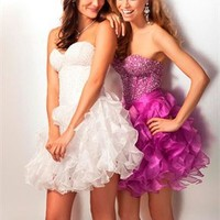 Strapless sweetheart beaded tulle white fuchsia short Prom Dresses 2012 PDM355
