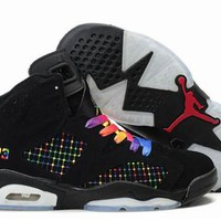 Hot Air Jordans 6 Women Shoes Embroidery Black Colourful