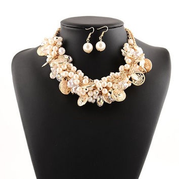 Vintage Faux Pearl Coins Pendant Necklace and Earrings