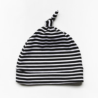 The Knotted New Baby Beanie // Onyx Stripe | Little Hip Squeaks