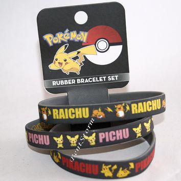 "Licensed cool Pokemon GO Pikachu Evolution Rubber Bracelet 3 Pack 1/2"" Wristband Jewelry Set"