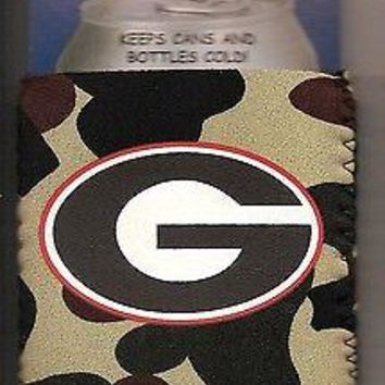 Georgia Bulldogs Camouflage Koozie Can Bottle Coolie Keeps Cans & Bottles Cold