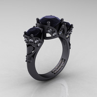 Scandinavian 14K Matte Black Gold 2.0 Ct Black and White Diamond Three Stone Designer Engagement Ring R406-14KMBGDBD