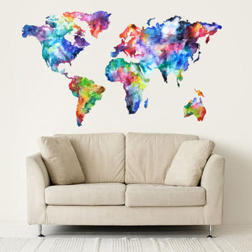 Full color wall decal vinyl sticker decals art decor design world travel map watercolo