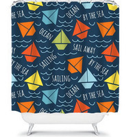 Sailboats Shower Curtain Nautical Monogram Water Waves Child Kid Ocean Sealife Sea Navy Blue Bathroom Bath Polyester Made in the USA