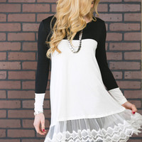 Color Block Long Sleeve Dress with Lace