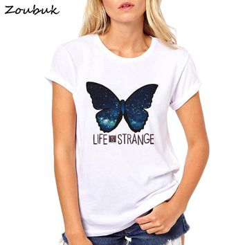 Life is Strange t shirt women anime letter graphic T-Shirt female starry night butterfly print Tops tumblr tee shirt femme shirt